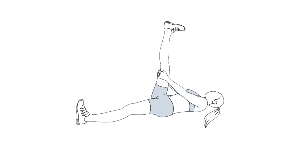 Self-performed hamstring stretch